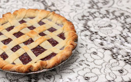 Homemade Cherry Pie. In a Foil Baking Tin Royalty Free Stock Photography
