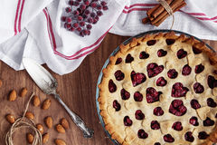 Homemade cherry pie on rustic background Royalty Free Stock Photography