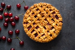 Homemade cherry pie on the table royalty free stock images