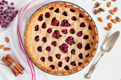 Homemade cherry pie on white background Royalty Free Stock Photography