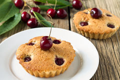Homemade cherry pie on a white plate Royalty Free Stock Photos