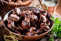Homemade chestnuts with garlic sauce Royalty Free Stock Photography