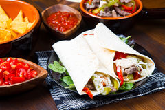 Homemade Chicken and Beef Fajitas. With Vegetables and Tortillas Stock Photography