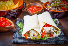 Homemade Chicken and Beef Fajitas with Vegetables and Tortillas. An homemade Chicken and Beef Fajitas with Vegetables and Tortillas Royalty Free Stock Photos