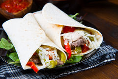 Homemade Chicken and Beef Fajitas with Vegetables and Tortillas. Mexican homemade Chicken and Beef Fajitas with Vegetables and Tortillas Royalty Free Stock Image