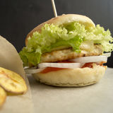 Homemade chicken burger. With cheese, lettuce, tomatoes and onions on parchment Stock Images