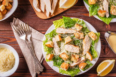 Homemade Chicken Caesar Salad with Cheese and Croutons. Homemade Chicken Caesar Salad with Cheese and Croutons, top view Stock Image
