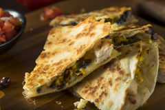 Homemade Chicken and Cheese Quesadilla. With Salsa and Cilantro royalty free stock photos