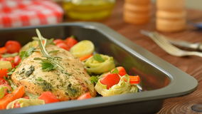 Homemade chicken with Cherry tomatoes and asparagus stock footage