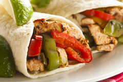 Homemade Chicken Fajitas with Vegetables Stock Image