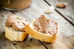 Homemade chicken liver pate with fresh baguette Royalty Free Stock Photo