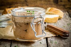 Homemade chicken liver pate in the jar Royalty Free Stock Photos