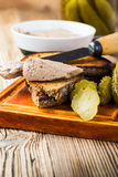Homemade chicken liver pate  on rustic wooden table Stock Photos