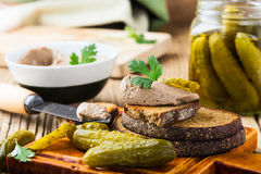 Homemade chicken liver pate  on rustic wooden table Royalty Free Stock Photo