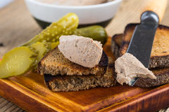Homemade chicken liver pate  on rustic wooden table Stock Photo