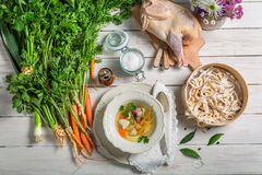 Homemade chicken noodle soup with ingredients Stock Photos
