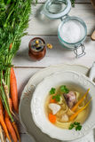 Homemade chicken noodle soup Stock Photos