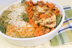 Homemade Chicken Parmesan with Pasta and Carrots Stock Images