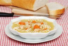 Homemade Chicken Pasta Soup Stock Image