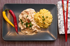 Homemade chicken with rice Thai style Stock Images