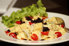 Homemade  chicken salad with curry sauce Stock Photos