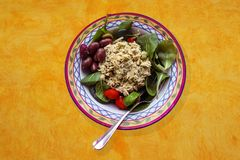 Homemade chicken salad served in a pretty bowl with spinach kalamata olives and cherry tomatoes on bright yellow painted backgroun. A Homemade chicken salad royalty free stock photos