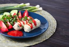 Homemade chicken sausages with sauce and greens. Healthy eating. The concept of healthy eating royalty free stock image