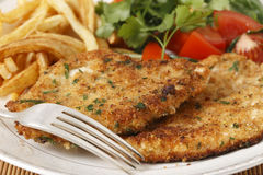 Homemade chicken schnitzels Stock Photos
