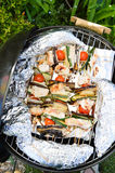 Homemade Chicken Shish Kabobs with Peppers and Onions Royalty Free Stock Photo