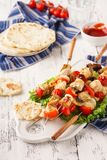 Homemade chicken shish kebab with mushrooms and bell peppers stock photo