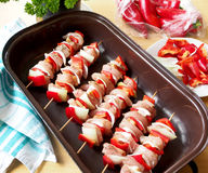 Homemade chicken skewers Stock Photos