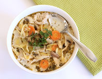 Homemade chicken soup. Bowl of homemade chicken soup Royalty Free Stock Photos