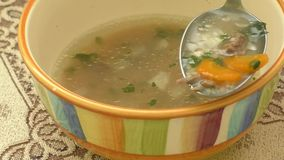 Homemade chicken soup in a bowl stock footage