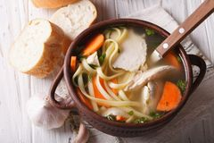 Homemade chicken soup with noodles. Horizontal top view Royalty Free Stock Photo