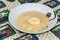 Homemade chicken soup served on the table Royalty Free Stock Images