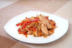 Homemade chicken and vegetables stir fried Royalty Free Stock Photo