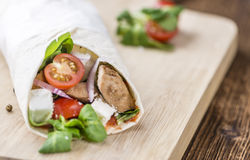 Homemade Chicken Wrap. (close-up shot) on vintage background (selective focus Royalty Free Stock Photos