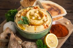 Homemade chickpea hummus with olive oil Royalty Free Stock Image