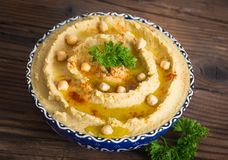 Homemade chickpea hummus with olive oil Stock Images