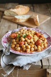 Homemade chickpea stew with chorizo Stock Image