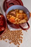 Homemade chickpea stew Madrid stew of chickpeas, stock image