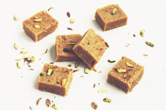 Homemade chickpeas barfi, a kind of indian fudge, for diwali Royalty Free Stock Photos