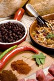 Homemade Chili 014. Homemade Chili with fresh vegetables herbs and spices Royalty Free Stock Images