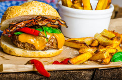 Homemade chilli burger with home spicy fries Royalty Free Stock Images