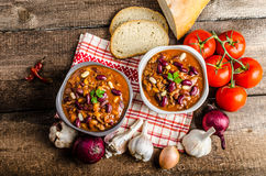 Homemade chilli con carne, bio bread Stock Photo