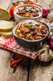 Homemade chilli con carne, bio bread Royalty Free Stock Photo