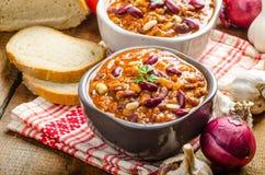 Homemade chilli con carne, bio bread Royalty Free Stock Photo