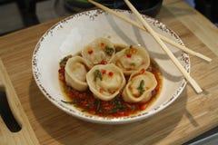 Homemade Chinese dumplings. Homemade Chinese cuisine dumplings plate Stock Photo