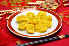 Homemade chinese gold ingot dumplings. New year food, spring festival food royalty free stock photos