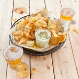 Homemade chips with dip Stock Photo